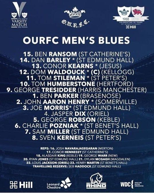 OURFC Varsity XV 2018